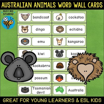 Word Wall Cards with Pictures: Australian Animals