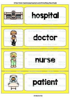 Word Wall Cards with Pictures: In a Hospital