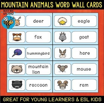 Word Wall Cards with Pictures: Mountain Animals