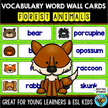 Word Wall Cards with Pictures for ESL Kids and Young Learners: Forest Animals