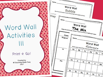 Word Wall Center Activity Sheets III!