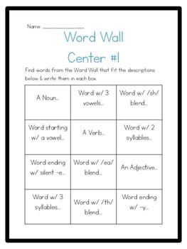 Word Wall Center Set