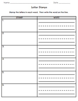 Word Wall Center Worksheets