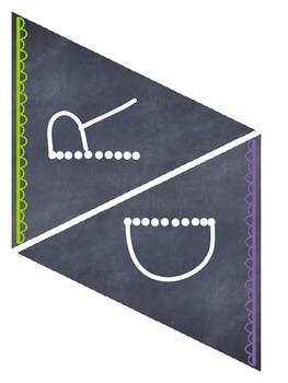 Word Wall Chalkboard Pennant {Heading & Letters}