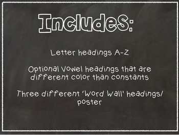 Word Wall Pack -Chalkboard Theme-