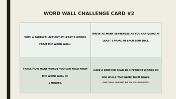 Word Wall Challenge Cards (English & Spanish) (Dual Language)