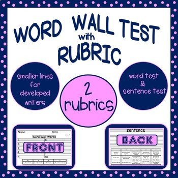 Word Wall Test with Rubric
