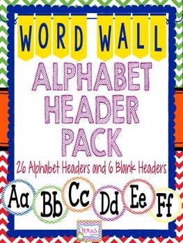 Word Wall - Chevron Word Wall Alphabet Headers {A to Z}