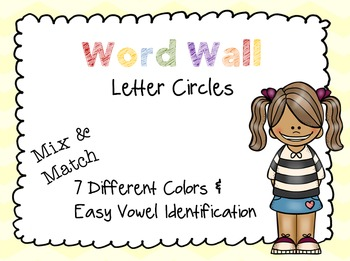 Word Wall Circle Letters - Seven Different Colors!