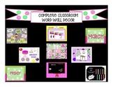 Word Wall Classroom Decor Bundle Pink & Green Polka-Dot