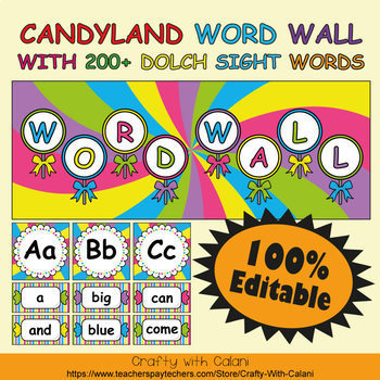 Word Wall Classroom Decoration in Candy Land Theme - 100% Editable