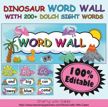 Word Wall Classroom Decoration in Cute Dinosaurs Theme - 100% Editable