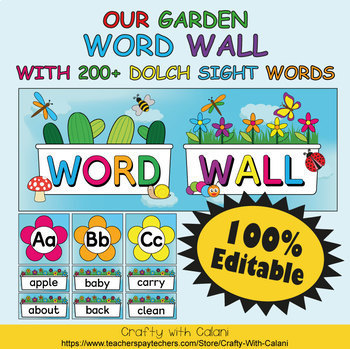 Word Wall Classroom Decoration in Flower & Bugs Theme - 100% Editable