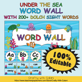 Word Wall Classroom Decoration in Under The Sea Theme - 100% Editable