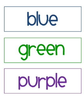 Word Wall Colors