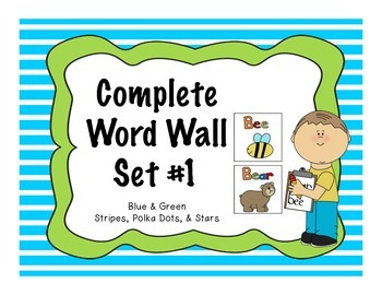Word Wall Complete Kit- Set #1 Blue and Green (over 200 Dolch Words)
