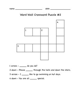Word Wall Crossword Puzzles
