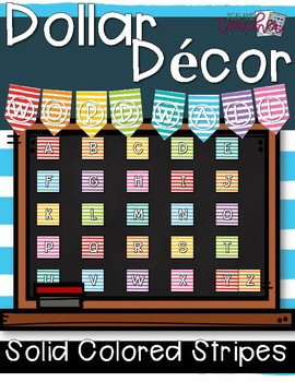 Word Wall Decor {Solid Colored Stripes}