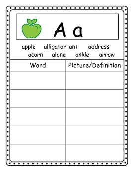 Word Wall Dictionary for Students (Great for DOLCH Words)