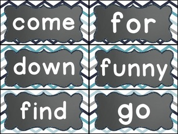 Word Wall Display (Chalkboard and Blue/Gray Chevron)