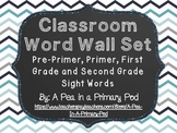 Editable Word Wall Display (Chalkboard and Blue/Gray Chevron)