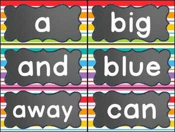Editable Word Wall Display (Chalkboard and Rainbow Stripe)