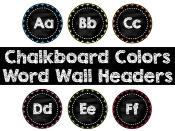 Word Wall Display Headers - Chalkboard Colors