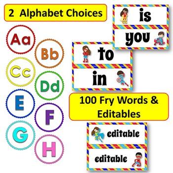 EDITABLE Superhero Themed Word Wall Display - Alphabet, Fry Words, Banners