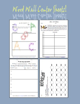 Word Wall Display and Center Sheets for Interactive Learners