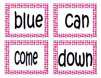 Word Wall (Dolch Pre-Primer.Primer) Polka Dot