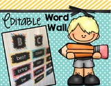 Word Wall - EDITABLE - Chalkboard - Alphabet Cards - Flash Cards