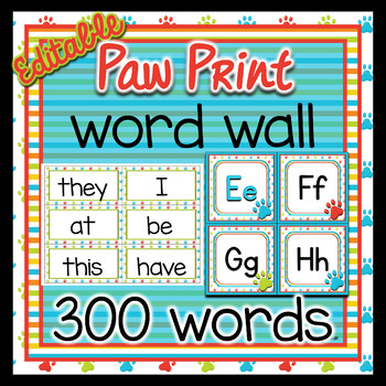Word Wall ~ 300 Fry words ~ Paw Print
