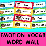 Word Wall: Self regulation Emotions/Feelings: 23 color cards