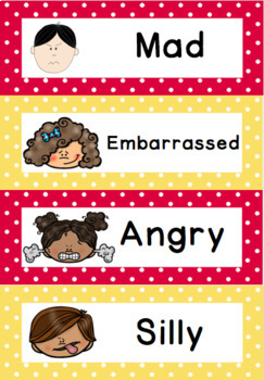 Word Wall: Self regulation Emotions/Feelings: 23 color cards