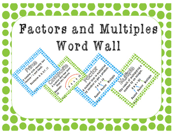 Math Word Wall - Factors and Multiples