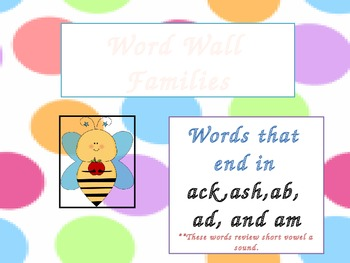 Word Wall Families for ack, ash, ab, ad, and am