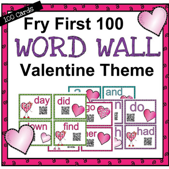 Word Wall First 100 for Valentine's Day