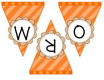 Word Wall Flag Banner in Blue and Orange