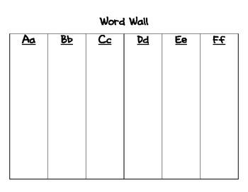 Word Wall Folder Insert