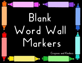 Word Wall - Free Blank Markers - 8 colors