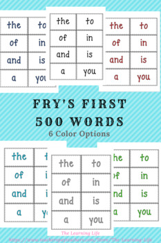 Word Wall: Fry's first 500 Words and Letter Headings (6 color options)