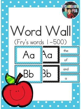 Word Wall Word Headers and Cards (Fry's Words 1-500)