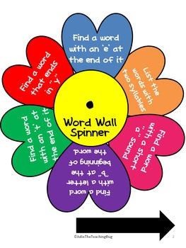 Word Wall Fun with Spinners!