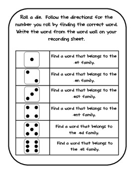 Word Wall Games - {Short e Word Families}
