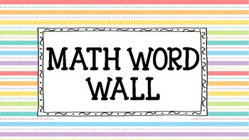 Word Wall Go Math Grade 3