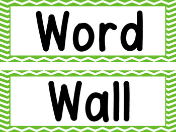 Word Wall Green Chevron and 200 Fry Words