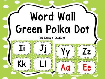 Word Wall Green Polka Dot  -Dollar Deal