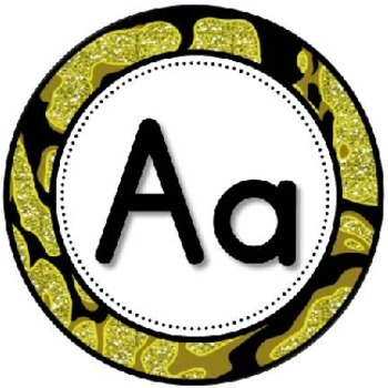 """Word Wall Header {Black and Gold Animal} 5.5"""" Round"""