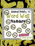 "Word Wall Header {Black and Gold Animal} 5.5"" Round"