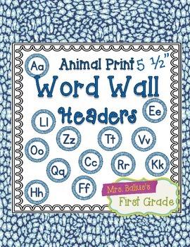 "Word Wall Header {Blue Snake} 5.5"" Round"